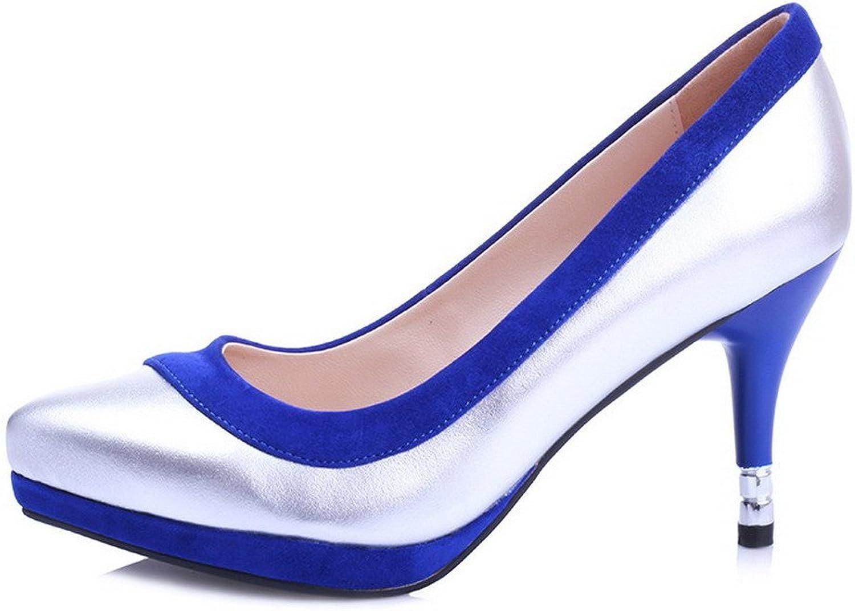 AllhqFashion Women's Pointed Closed Toe High Heels Sheepskin Pumps with Stiletto