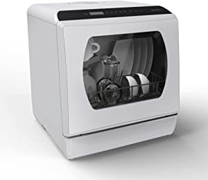 Portable Countertop Dishwasher, 5 Washing Programs Mini Dishwasher with 5 L Built-in Water Tank & Inlet Hose,Baby Care, Glass & Fruit Wash for Small Apartment, Dorms, RVs -White