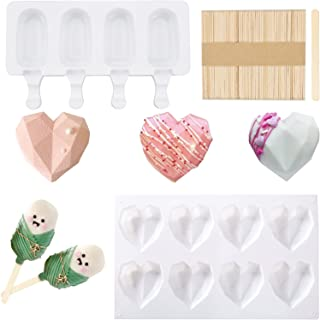 Heart Shaped Chocolate Mold and Popsicle Mold Set- 8 cavities Diamond Heart Mousse Cake Mold Tray +4 Cavities Popsicle Mak...