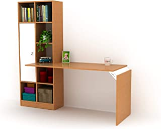 Home Canvas Opus Computer Desk with storage and book case ideal for Home Office, Teak color