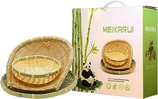 مجموعة سلال التخزين المصنوعة يدويًا من الخيزران والفواكه والسلال لمجموعات أواني الطعام والكعك (عبوة من 3 قطع)