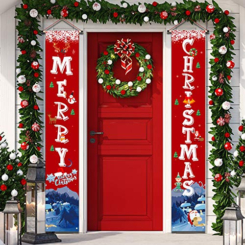 """YUFOL Christmas Decorations for Home Merry Christmas Banner,Hanging Christmas Door Decorations Decor Porch Sign for Front Door Welcome Christmas Banners Xmas Decor Flags-Large Size 12""""×71"""" (Red)"""
