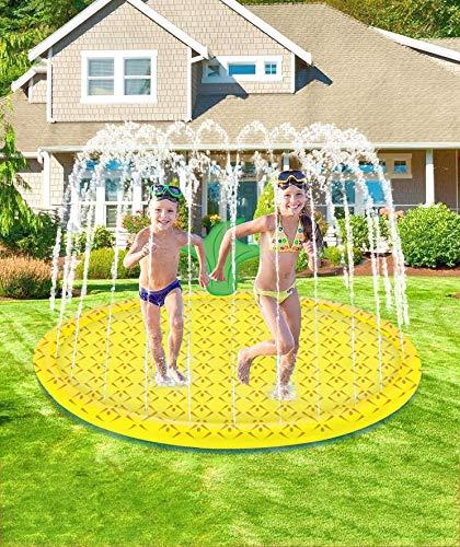 Chapoteo Almohadilla Aspersor Niño, 170CM Splash Pad Mat Hinchables Piscina Juegos de Agua para Actividades Al Aire Libre Jardín de Verano Juguetes Acuático