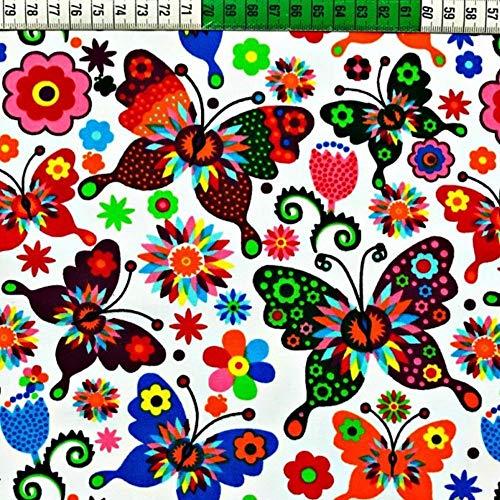 Pingianer - Tela de algodón para niños, 100 % algodón, por metros, tela de costura, artesanía, diseño de mariposas, algodón, Mariposa multicolor sobre blanco., 100x160cm (11,99€/m)