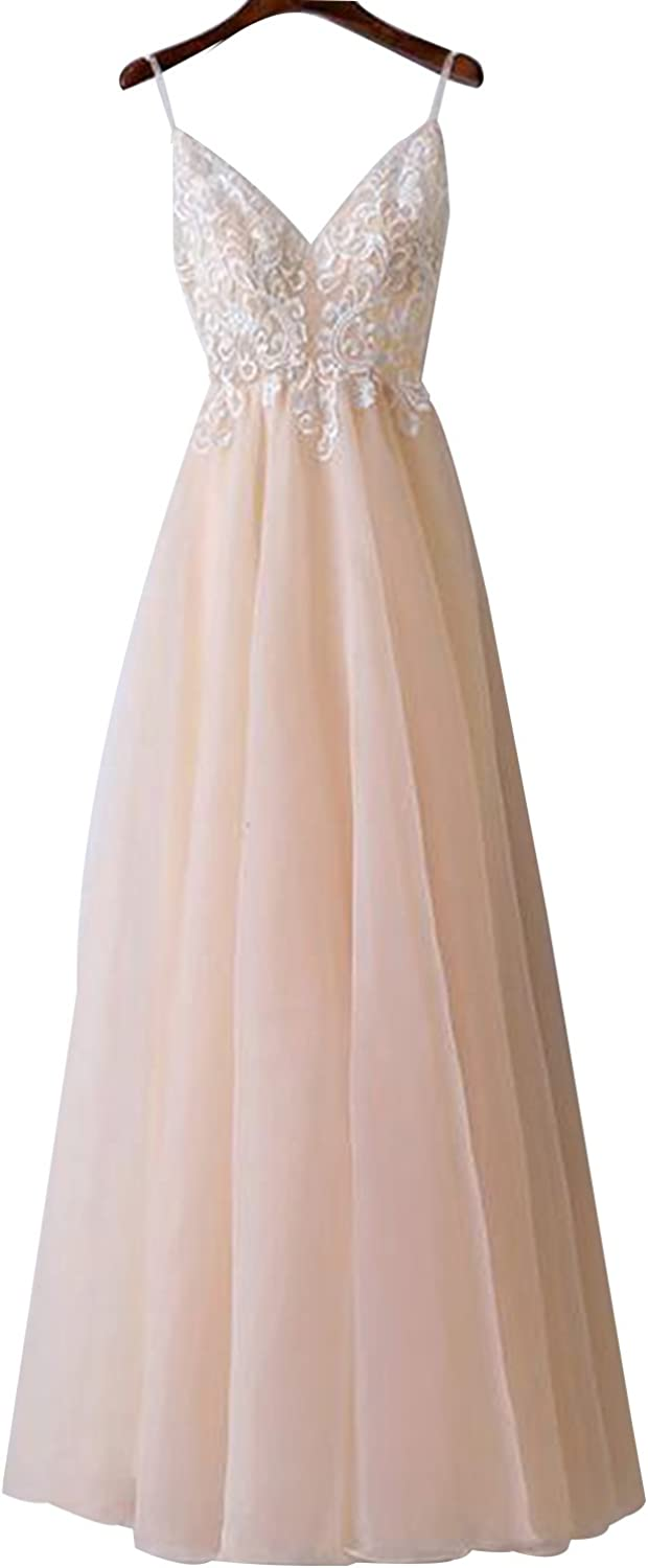 YIRENWANSHA Sexy Spaghetti Strap Prom Dress Lace Tulle Party Gown for Women Bridesmaid Dress YW65