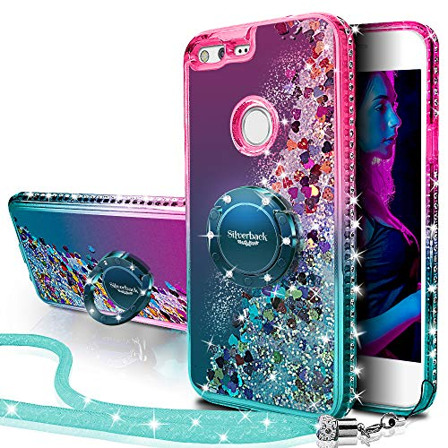 Google Pixel Case, Silverback Moving Liquid Holographic Sparkle Glitter Case with Kickstand, Bling Diamond Bumper W/Ring Slim Google Pixel Case for Girls Women 2016 -Green