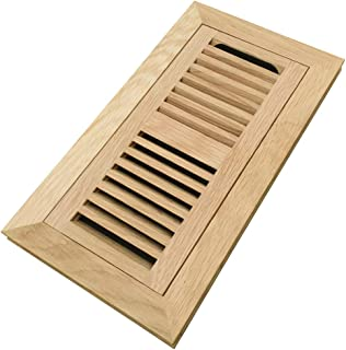 Homewell White Oak Wood Floor Register, Flush Mount Vent with Damper, 4x10 Inch, Unfinished