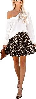 Omeya Floral Layered Ruffles Flared Elastic High Waist Cute Casual Mini Pleated Skater Skirt for Woman