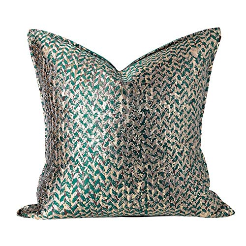 Cushion Cover Decorative Pillow Case Modern Simple Leaf Jacquard Champagne Coussin Sofa Chair Square Bedding (Color : B, Size : 50x50CM NO FILLING)