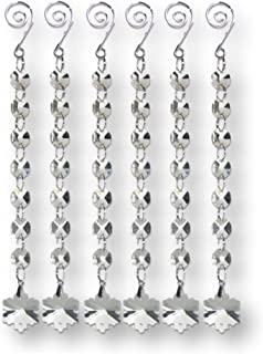 BANBERRY DESIGNS Hanging Snowflake Crystal Prism Ornament Strands Set of 6 - Crystal Snow Flake Charms That Hang on Garland Strands of Crystal Beads - Wedding Decor- Tree Garland