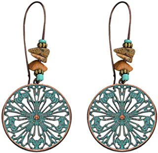 Rape Flower💗 Ethnic Style Retro Green Pine Carved Water Drop Hollow Earrings Ladies Jewelry