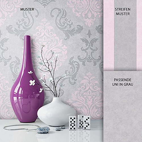 NEWROOM Barocktapete Tapete Grau Ornament Barock Vliestapete Rosa Vlies moderne Design Optik Barocktapete Wohnzimmer Glamour inkl. Tapezier Ratgeber