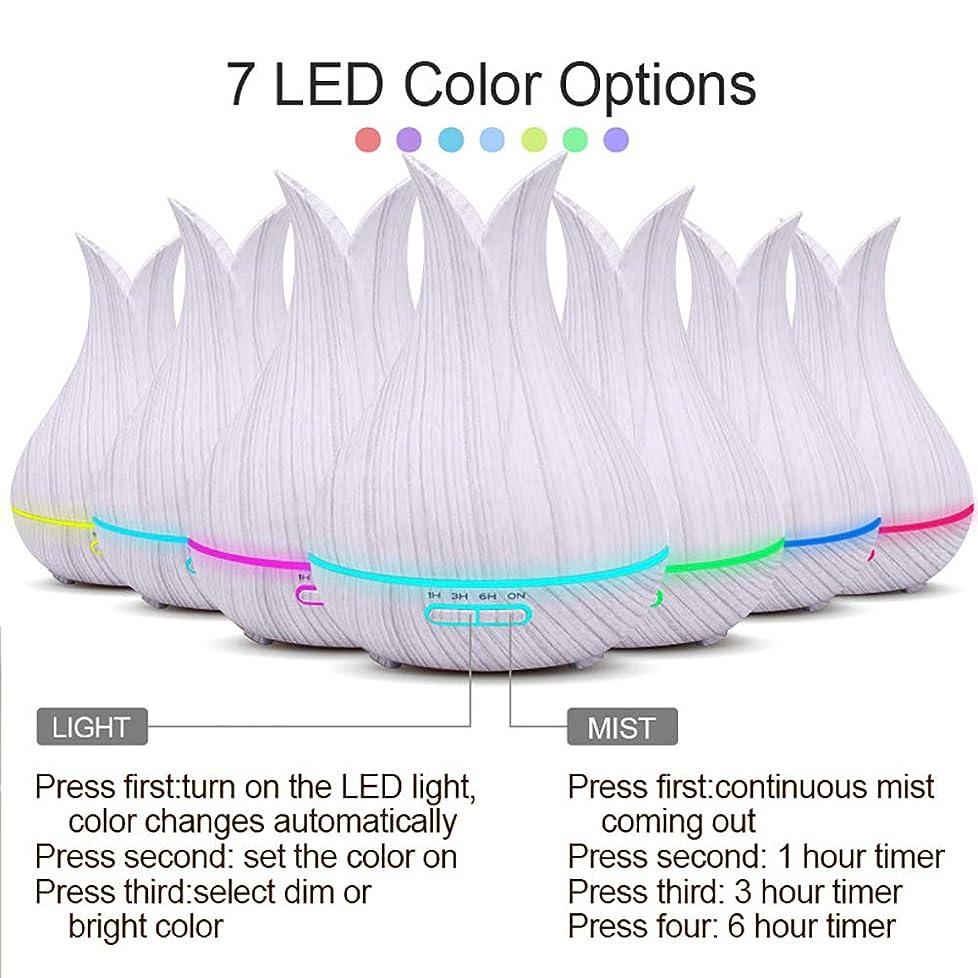 テラスビデオコロニーエッセンシャルオイルディフューザーと加湿器、ミストエッセンシャルオイルアロマ加湿器のための超音波アロマセラピーディフューザー、400ミリリットル水タンク7色LEDライト,White