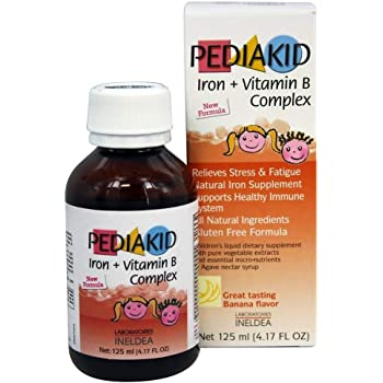 Pediakid Iron + Vitamin B Complex All New Formula Natural Vitamins & Mineral Supplement to Help Children with Fatigue, Tiredness and Frail Conditions