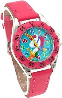 Orologio Bambino ZWRY Kids Girl Boy Orologio da polso in pelle Abito casual Moda Bambini Impara Time Watch Rose