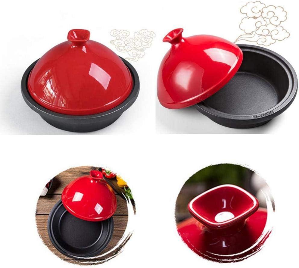 MYYINGBIN Pot à Tajine De 30 Cm avec Couvercle en Forme De CôNe à Base en Fonte éMailléE Et Gants en Silicone Anti-Chaud Cadeau De Pendaison De CréMaillèRe, Pink Red