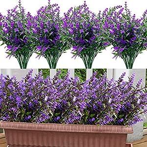 GBD 20 Bundles Lavender Artificial Flowers Outdoor UV Resistant Flowers Plastic Fake Flowers Plants for Outside, Artificial Flowers Faux Plants for Window Box Hanging Planter Home Porch