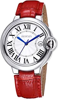 Fashion Watches Women Fashion Calendar Display Roman Numeral Dial Leather Band Analog Quartz Wrist Watch