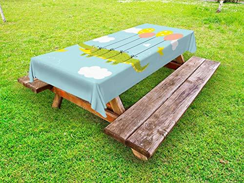 ABAKUHAUS Gator Funda Nórdica, Cocodrilo del Vuelo con el Globo, de Tela con Estampa Digital Decorativo Lavable, 145 cm x 305 cm, Azul pálido Multicolor