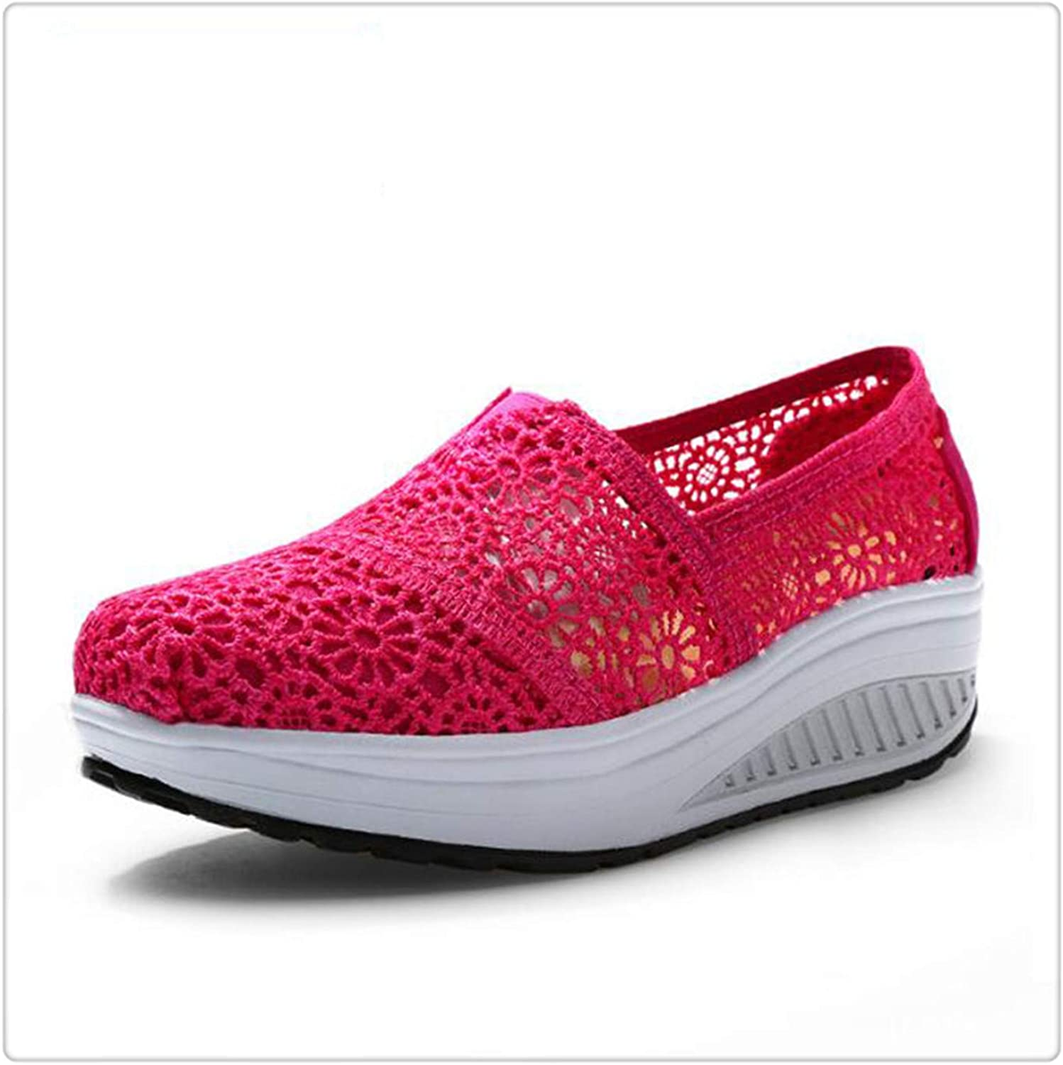 HANGGE& Women Casual shoes 2017 Spring Summer Breathable lace Canvas shoes Women Platform Slip-on Solid Wedges shoes pink red 6.5