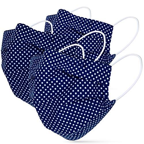 tanzmuster Gesichtsmaske für Erwachsene - Stoffmaske mit Nasenbügel und Filtertasche - Alltagsmaske waschbar - 100% Baumwolle OEKO-TEX Standard 100. Hauchdünn - dunkelblau gepunktet M/L 3er Set