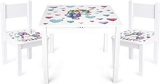 Leomark Yeti Table et 2 chaises Enfant Chambre Bébé Table pour Enfants Meuble Chaise Petit Bureau Dimensions: L 60 x L 60 ...