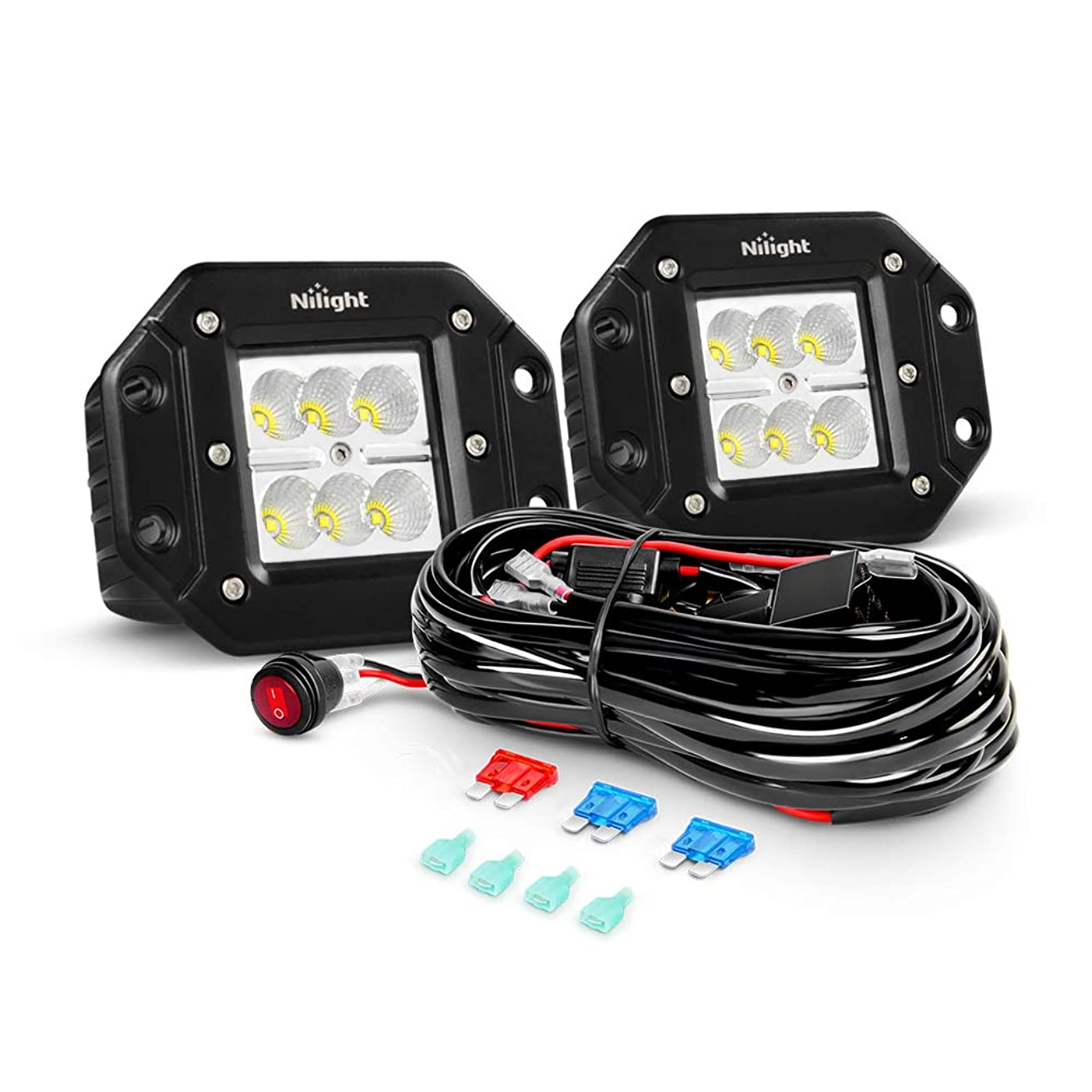Nilight ZH050 2PCS 18W Flood Flush Mount LED Work Fog Driving Lights with Off Road Wiring Harness, 2 Years Warranty