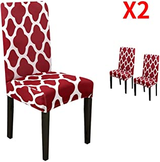 YIMEIS Stretch Dining Chair Slipcovers, Geometric Printed Dining Chair Protector, Removable Washable Short Dining Room Chair Covers for Dining Chairs, Kitchen, Office (Pack of 2,Wine red)