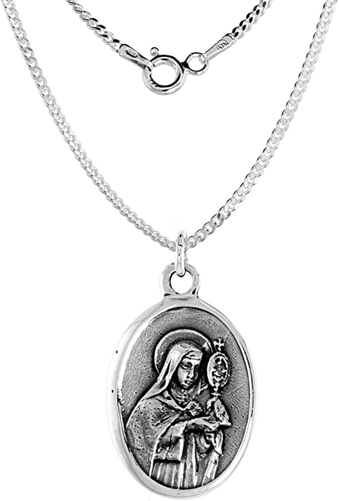 Sterling Silver 世界の人気ブランド St Clare Medal 1.8mm Chain Oval Necklace 人気