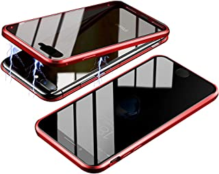 RANYOK Compatible iPhone XR Privacy Magnetic Adsorption Case, Double-Sided Tempered Glass with Built-in Screen Protector 360° Full Body Metal Frame Cover (Red)