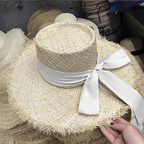 Yidajiu vrouwen zonnehoed zwart beige band stropdas zonstrand hoed dames brede rand strohoed zomer reishoed Cap-Beige Silk_Wind_Rope