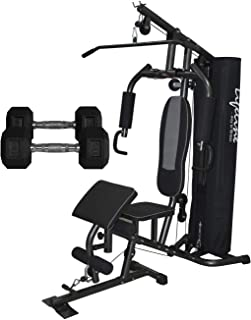 Lifeline 150 LBS Deluxe Gym for Workout at Home with Round Pipe, Cover and Preacher Curl, Bonus 5 Kg Dumbbells Pair