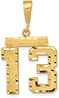 Lex & Lu 14k Yellow Gold Medium D/C Number 13 Charm