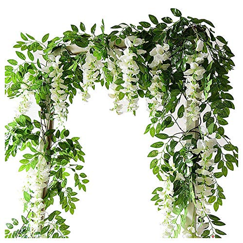 2Pcs 7Ft/Pcs Artificial Wisteria Vine, Flower Garland Wisteria Vine Rattan Hanging Flowers Arts for Outdoor Ceremony Wedding Garden Home Party (White)