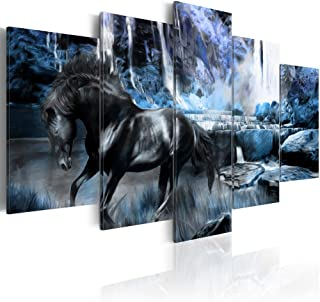 """Blue Waterfall Canvas Art Wall Decor Black Horse Picture Modern Landscape Painting Large Bedroom Office Decoration Framed and Stretched (CY04, Large W60"""" x H30"""")"""