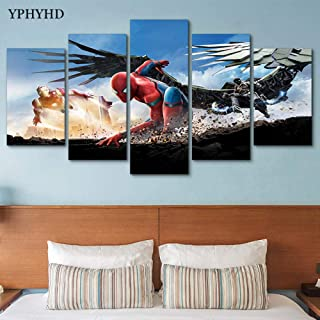 5 Piece Wall Art Painting 5 Pieces Spider Man Homecoming Canvas Paintings Wall Art Pictures Frame Modern Decor Hd Printed Movie Posters Living Room-zlh20