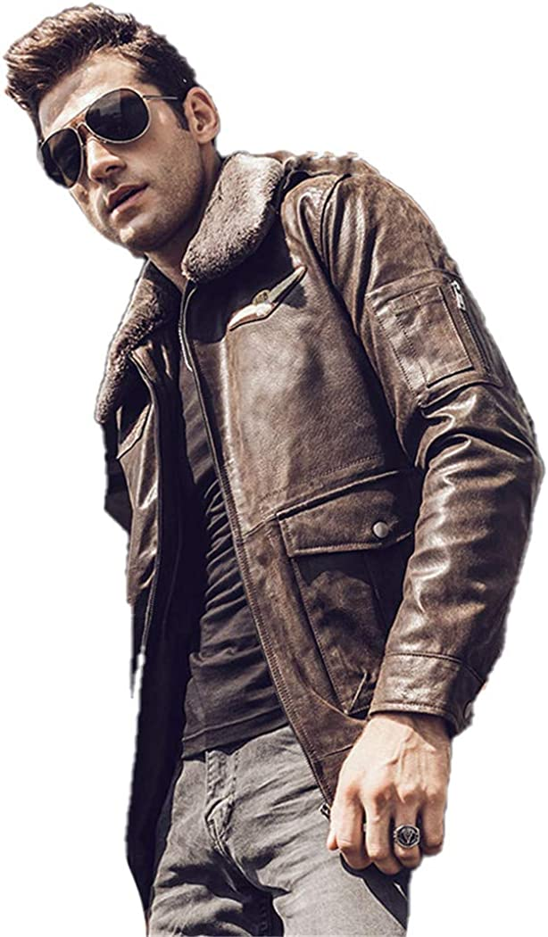 Men's Retro Max 66% OFF High quality Pilot Real Leather Pig Coat Winter Jacket Motorcycle