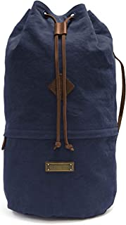 DRAKENSBERG Light Duffel Bag - Kleiner Leichter Seesack und Rucksack im Vintage-Marine-Design, handgemacht in Premium-Qualität, 40 L, Canvas und Leder, Marineblau, DR00158