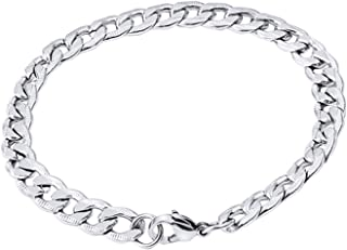 Men's Bracelet, DELFINO 20.5CM Titanium Steel Hand Wrist Link Jewelry for Women Men, Chunky Chain Bracelets Simple Silver ...
