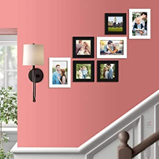 Art Street Zeus Synthetic Wood Wall Photo Frame for Home Decor with Hanging Accessories (5x5, 5x7 inches, Black and White)...