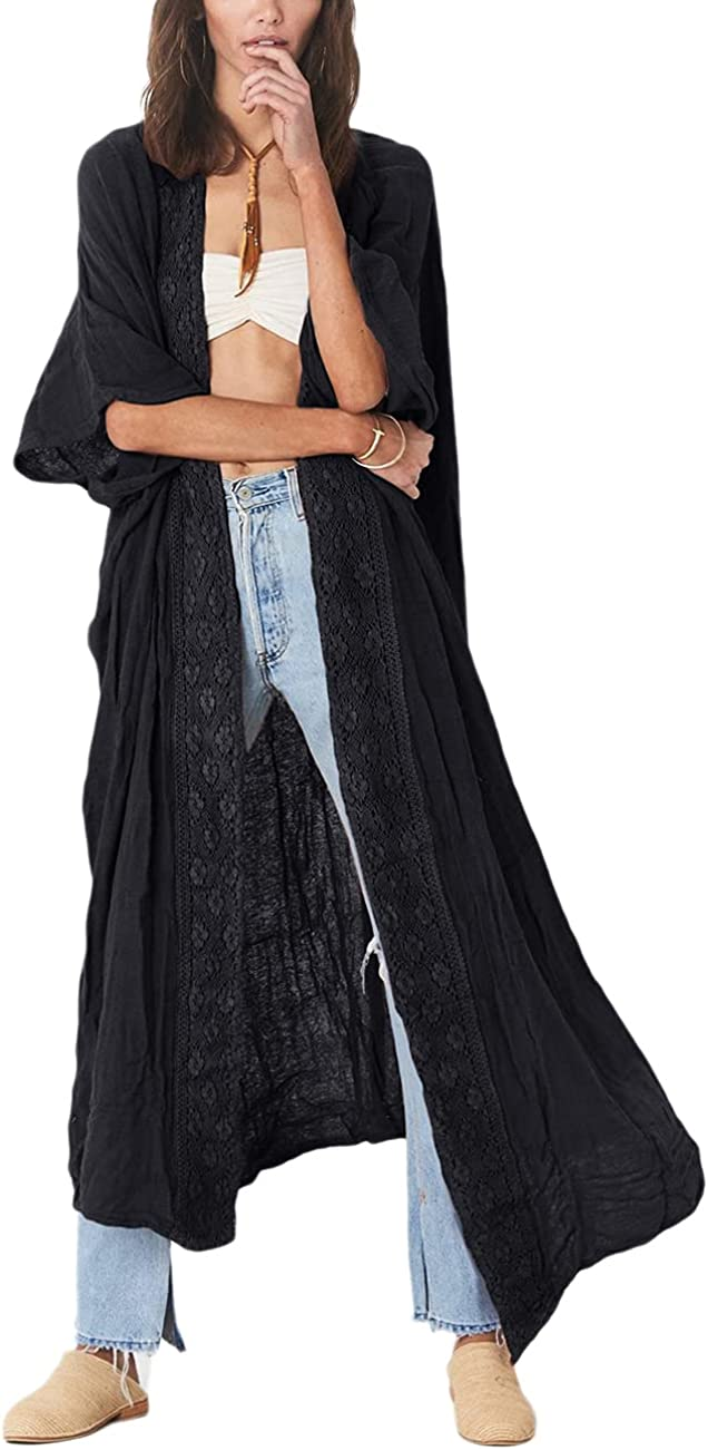 Bsubseach Embroidery Half Sleeve Open Front Kimono Beach Cover Ups for Women