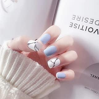 Dongcrystal Set of 24 False Nail Chic Blue Frosted Bridal Fake Nail Full Nail Tips