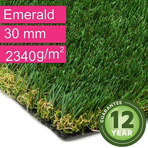 Kunstrasen Rasenteppich Emerald für Garten - Florhöhe 30 mm - Gewicht ca. 2340 g/m² - UV-Garantie 12 Jahre (DIN 53387) - 4,00 m x 3,00 m   Rollrasen   Kunststoffrasen