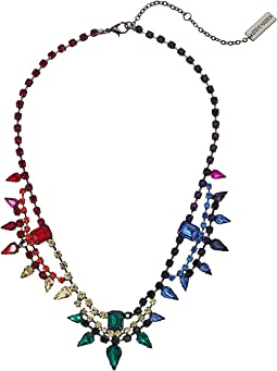 Multistring Rainbow Rhinestone Cluster Statement Necklace