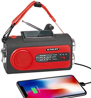 SUNGLIFE Solar Crank NOAA Weather Radio for Emergency with AM/FM, Flashlight, Reading Lamp, 2000mAh Power Bank USB Charger...