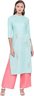 Vbuyz Women's Embroidered Straight Cotton Sky Blue Kurti with Palazzo Set(VF-PL-626)