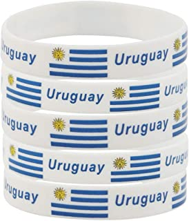 SpringPear 5X Silicon Wristbands with Uruguayan Flag for FIFA World Cup Soccer Fan Bracelets (5 Pcs)