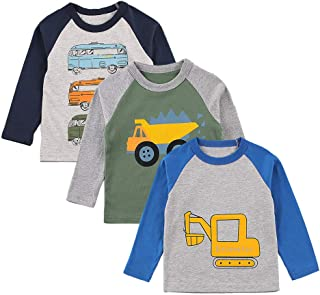 GLIGLITTR Boys Long-Sleeve T-Shirts Toddler 3-Pack Casual Cotton Graphic Tee