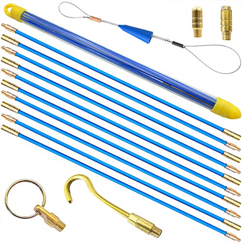Akuoly Einziehband Kabel-Einziehstangensatz 5,8 Meter Einziehdraht Einziehspirale mit Führungsfeder Einziehhilfen zur Kabelverlegung,10 Stück x 58cm, Blau