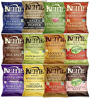 Kettle Brand Potato Chips, Individual Single Serve Bags, Many Different Flavors Sampler Variety Pack (24 Count)